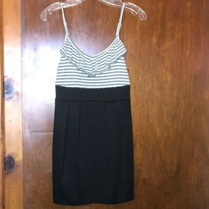Black, gray and white dress with adjustable straps